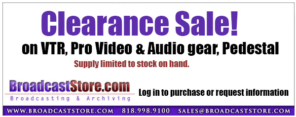Broadcaststore.com clearance sale VTR Pro Video Audio Gear Pedestal Special